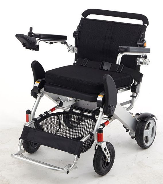 Heavy Duty folding power wheelchair from KD Smart Chair is made of a durable lightweight aluminum alloy that supports passengers weight of up to 330 pounds. The chair only weighs 59 pounds which makes