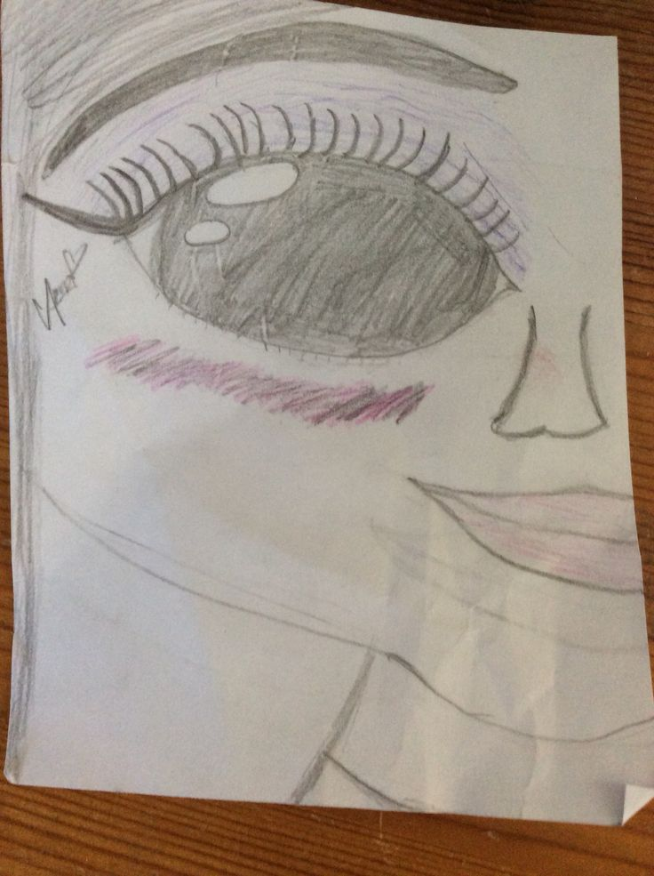 A drawing of a girl with makeup... #madebyme