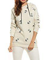 Zeagoo Damen Pullover Hoodie Kapuzenpullover mit Anker Aufdruck Herbst Winter Sweatshirt Jacke mit Kapuze (EU 40(Herstellergröße:L), Grau): Amazon.de: Bekleidung