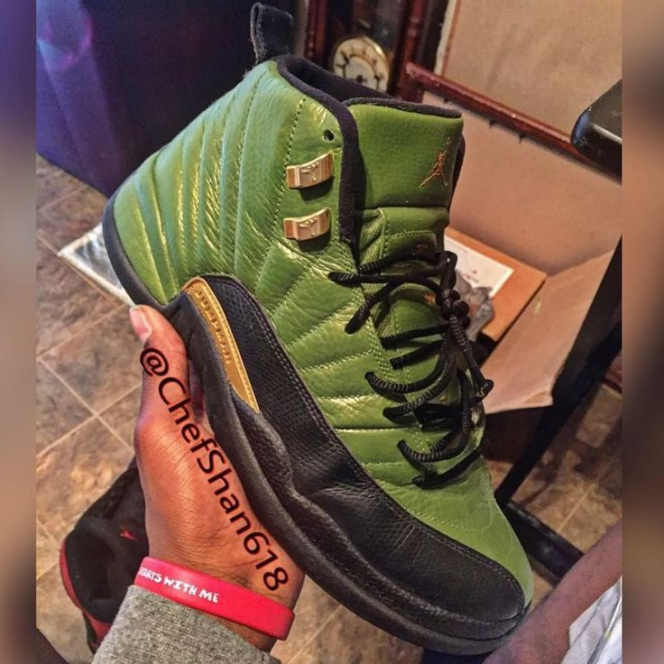 WOULD YOU ROCK THESE OLIVE GREEN JORDAN 12 CUSTOMS????????????????? I think would look hot with some Camo's Customs by: @chefshan618  by brendonbane #SoleInsider