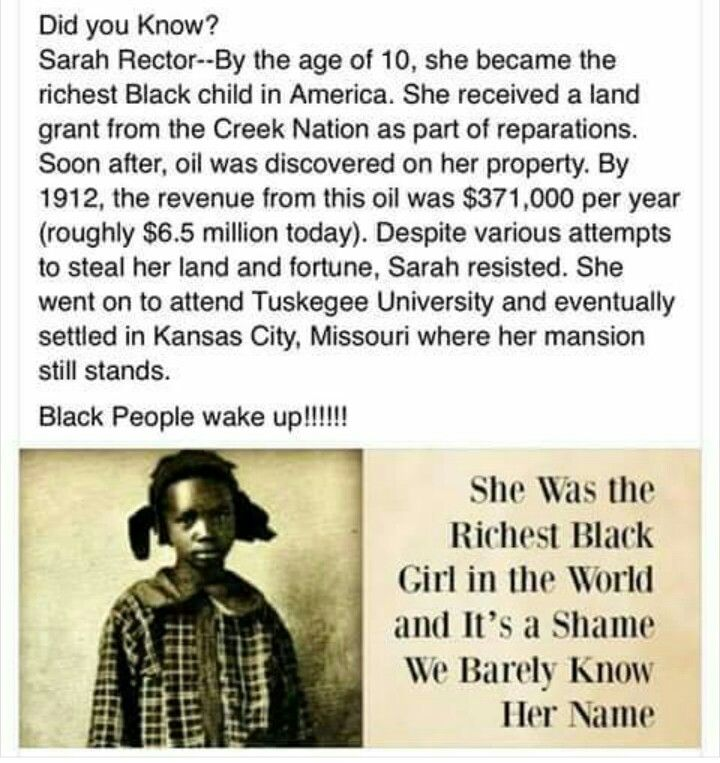 Sarah Rector richest black girl in the world 19 06 | Black history books, Black history facts, Black history