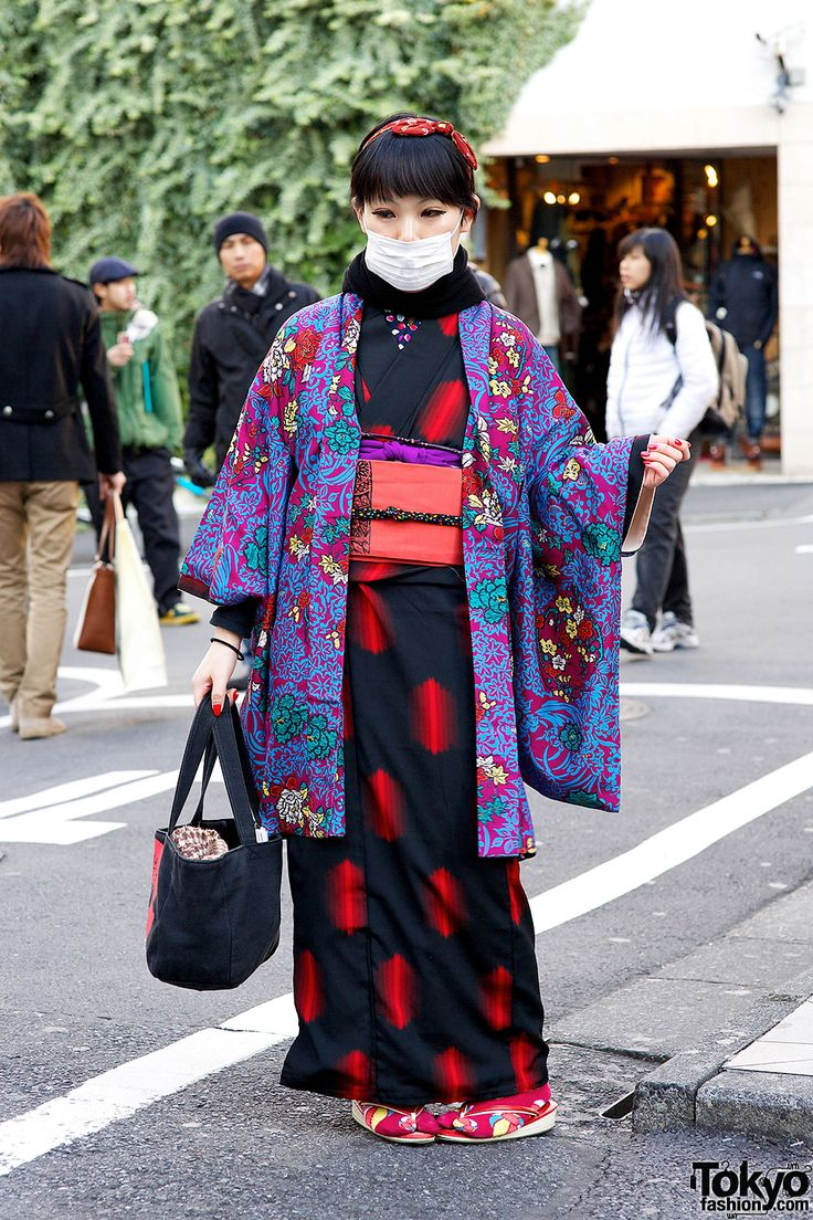 Kra fan wearing a pretty kimono that she got from her grandmother on the street in Harajuku.