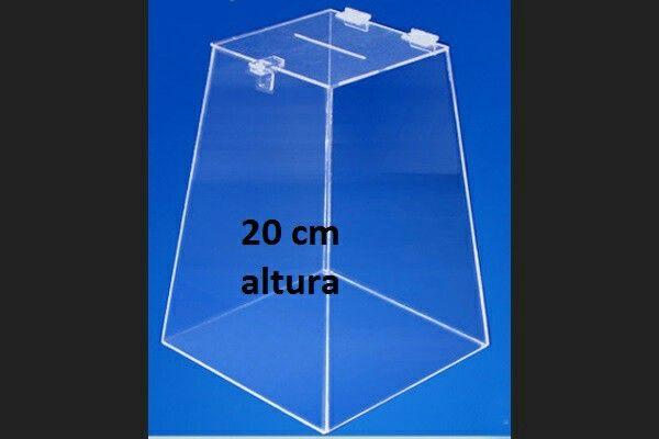 Urna acrílico cristal 3 mm/20 cm altura.