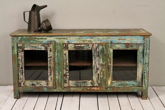 Emerald Green Antique Industrial Farm Chic Glass Door Sideboard Buffet Media Console TV Stand