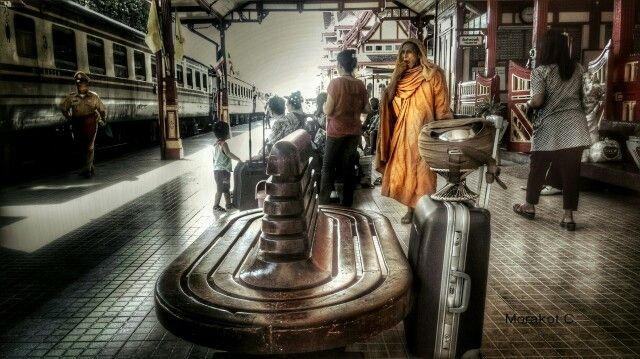 Monk at the train station