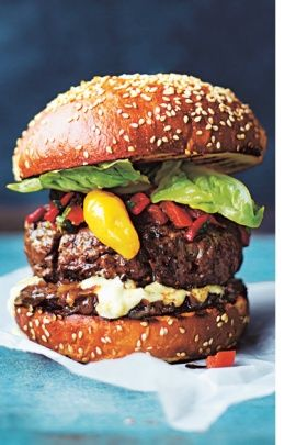 Jamie Oliver's Best Ever Beef Burger.  It's not just the burger but the yogurt sauce and the salsa rossa that I'm interested in!