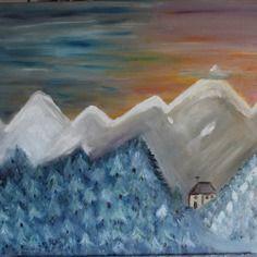 Tableau figuratif - peinture figurative huile montagne enneigée châssis 60 x 71 cms