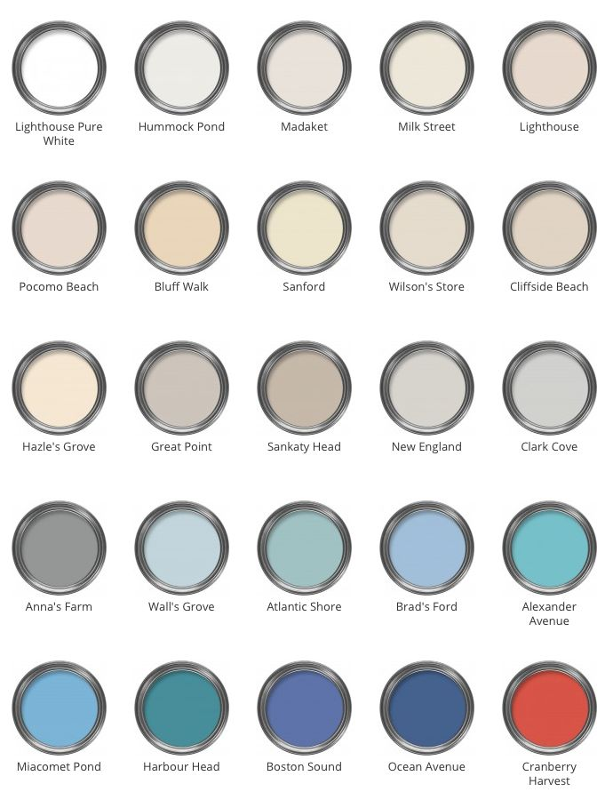 Like New England style? Here is the great new palette from The Nantucket Trading Company: http://www.colourandpaint.com/brand/nantucket/nantucket-palette.html