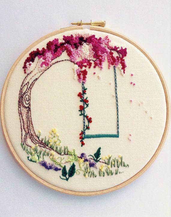 Embroidered Tree Hoop Art. Embroidery Hoop di EleanorsSecretAttic