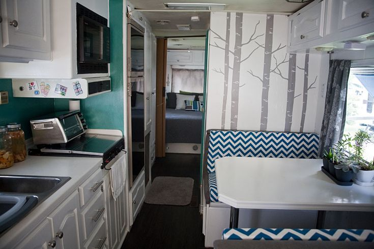 RV Motorhome Interior Remodel Bus Pinterest Trees