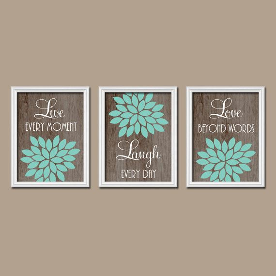 Live Laugh Love Wall Art Baby Girl Nursery Artwork Gray Aqua Decor Girl Bedroom Pictures Canvas Or Prints Flower Burst Quotes Set Of 3