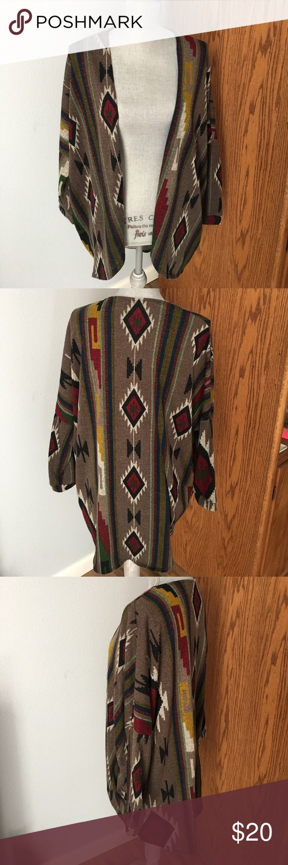 🚨BOGO SALE! Aztec print cardigan 3/4 length sleeves, EUC. Tag has been cut out because it was very itchy 😅 but fits a size XS/S. Jackets & Coats