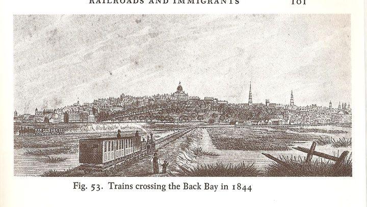 Trains crossing Back Bay in 1844.