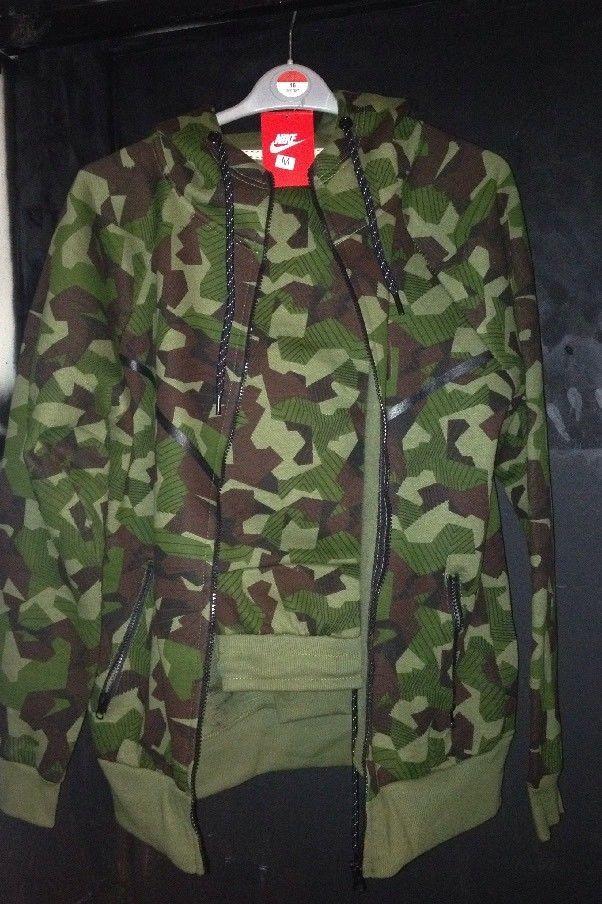 Mens Nike SportswearTech Fleece Windrunner Green Camo Tracksuit Size M UK  Seller  c5a7f336566