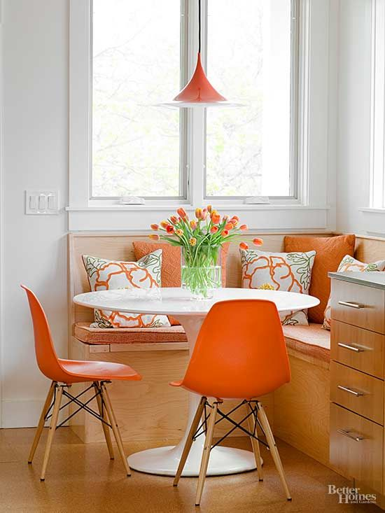 Can't decide between a banquette and chair seating? Opt for both! A built-in banquette provides plush seating for casual dining, while chairs allow for guests. Consider drawers within your banquette bench for hidden linen and dishware storage.