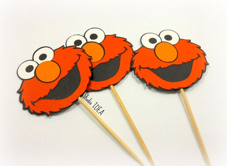 "2.5"" Elmo Cupcake Toppers-Food Picks-Orange, Black Elmo Head Toppers-or Choose Your Colors-Set of 12pcs, 24pcs by StudioIdea on Etsy"