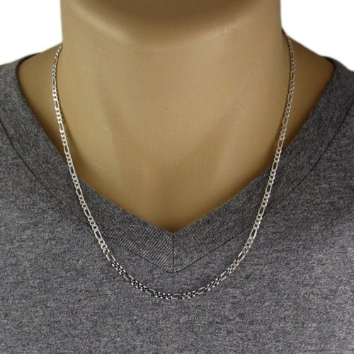Men's 925 Sterling Silver Figaro Chain Necklace 080 Gauge 3 mm - Made in Italy #Unbranded #Chain