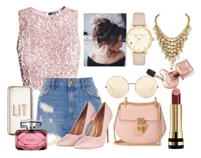 """""""LIT"""" by omgispolyvore on Polyvore featuring moda, River Island, Chloé, Topshop, Missguided, Victoria Beckham, Kate Spade y Gucci"""