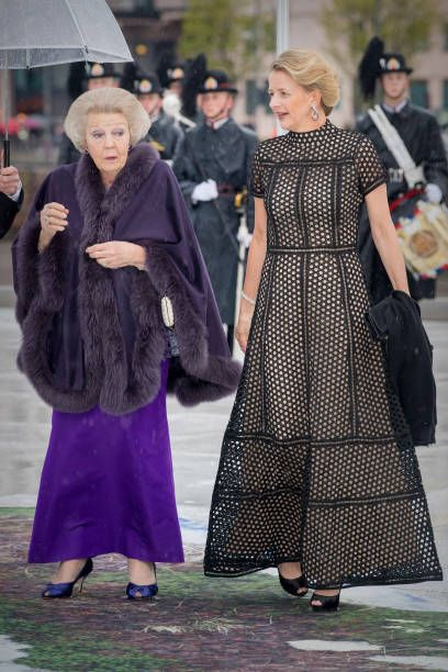 Princess Beatrix and Princess Mabel of The Netherlands arrive at the Opera House on the ocassion of the celebration of King Harald and Queen Sonja of...