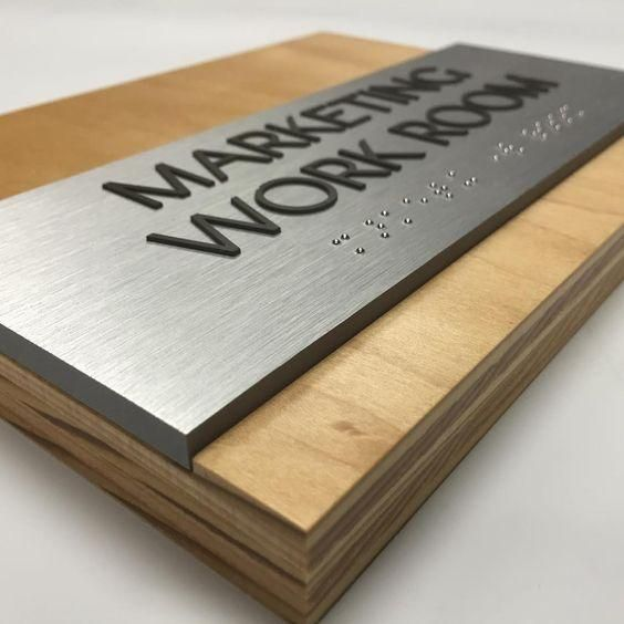 """Beautifully Designed Custom Office Door Signage, one of our highest quality signs which will make your office or space of business stand out in a meaningful and prominent way. Dimension at 3/4"""" wooden panel with 1/4"""" Aluminum panel and 1/32"""" raised tactile to comply with ADA signage regulations."""