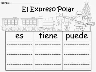 FREE:  El Expreso Polar Organizer...great for bilingual education K teachers...El Expreso Polar es.....El Expreso Polar tiene....El Expreso Polar puede....Writing sentences made easy!  FREEBIE For Teachers From A Teacher! fairytalesandfictionby2.blogspot.com