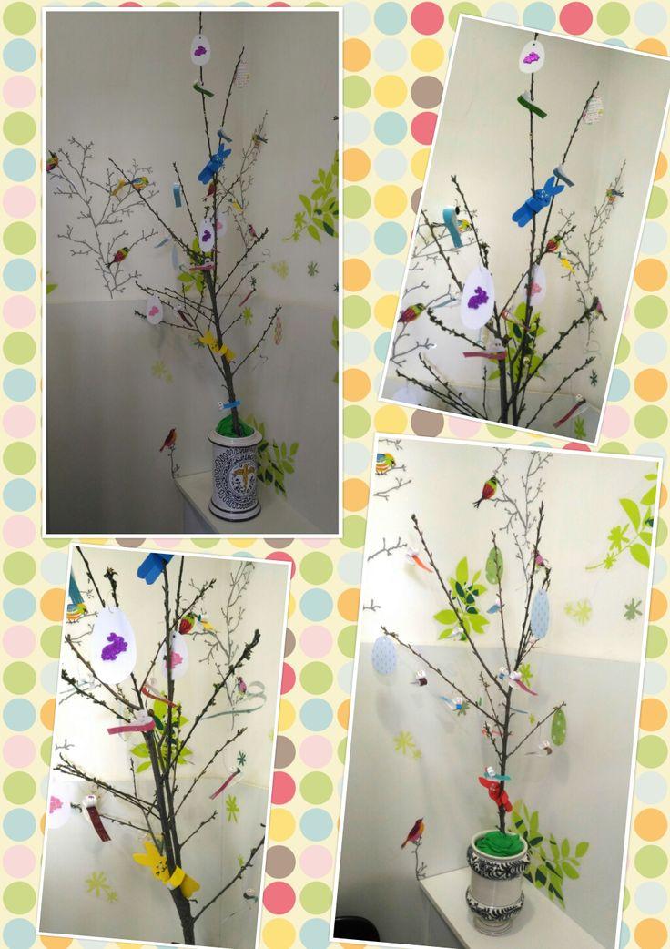 pasqua decorazioni albero coniglietti uccellini uova