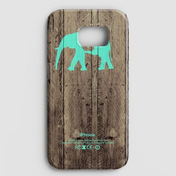 Mint Chevron Elephant On Dark Wood Background Samsung Galaxy S7 Edge Case