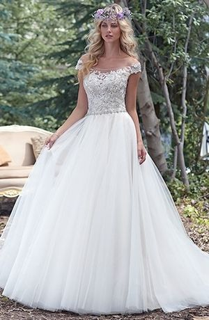 Maggie Sottero - Tip of the Shoulder Ball Gown in Tulle
