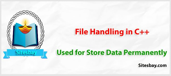File handling in C++ - This concept is used to store data permanently on system