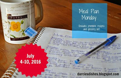 Darcie's Dishes: Meal Plan Monday: 7/4-7/10/16 ~ A one week meal plan that is Trim Healthy Mama compliant!