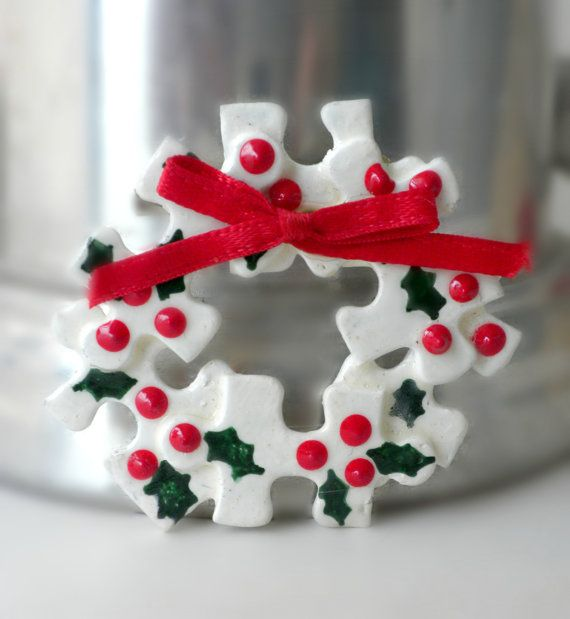Christmas Wreath Brooch Puzzle Piece Jewelry by BunnyFindsVintage