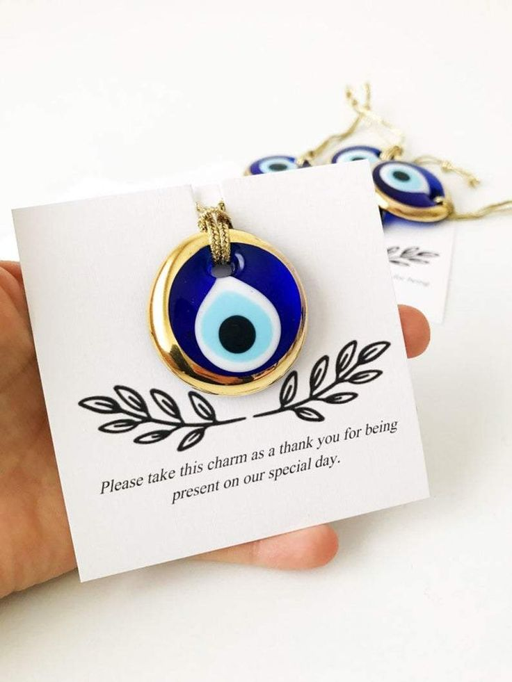 Wedding Baptism Favor with Evil Eye Charm and Large Satin Bow