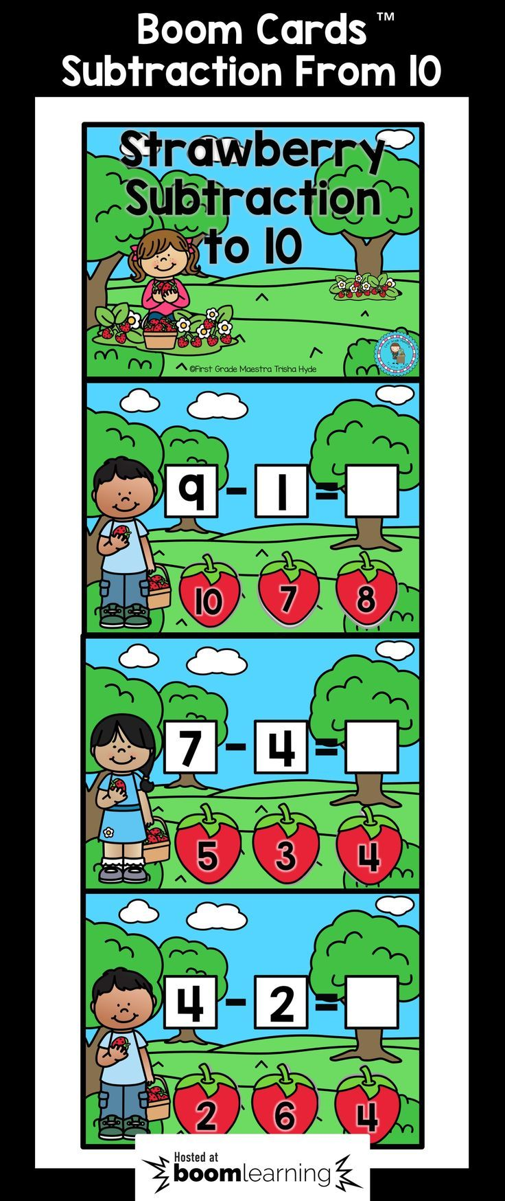 These Subtraction within 10 BOOM cards are the perfect NO PREP Digital Task Cards. Students will demonstrate their understanding Subtraction by solving a subtraction sentence. There are 65 Digital Task Cards. CLICK VISIT to see more about Boom Cards and to see a sample.
