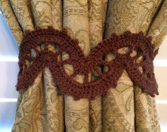 Crochet el Tieback de la cortina - marrón