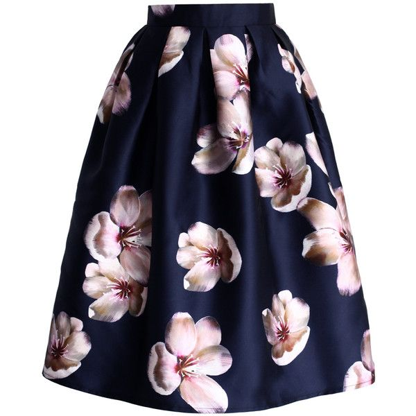 Chicwish Peach Blossom Midi Skirt in Navy (£27) ❤ liked on Polyvore featuring skirts, bottoms, saias, blue, navy blue skirt, mid calf skirt, navy skirt, midi skirt and flower skirt
