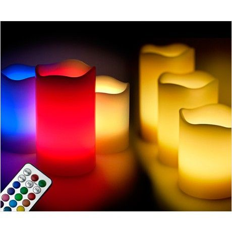 3 Vlamloze LED Kaarsen - Stel Zelf De Gewenste Kleur in!