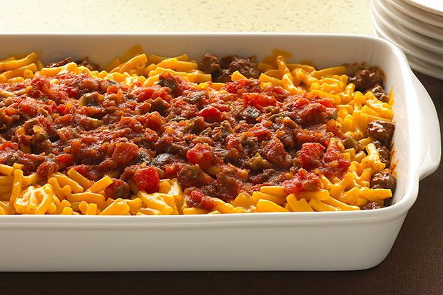 Ground beef and salsa add crowd-pleasing flavor—and a bit of a kick—to the classic mac and cheese that so many people love.