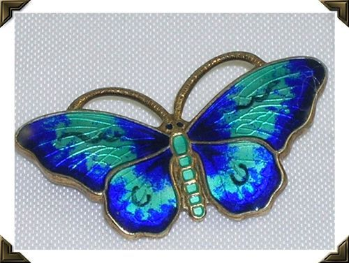 Vintage Silver Enamel Butterfly Brooch OPRO Norway