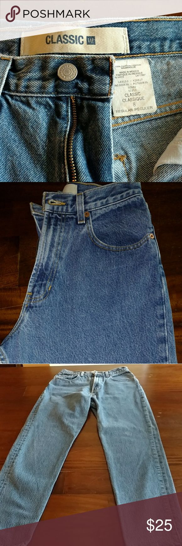 "Classic Gap ""Mom"" jeans 100% cotton denim, difficult to find in women's jeans today.  Rise of 12 inches and inseam of 31 inches. GAP Jeans Straight Leg"