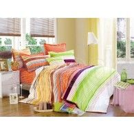 Double Quilt Cover 3 Piece Set Reversible Design PARADISE ORANGE available in all sizes from www.beachabodeliving.com.au