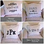 Sharpie Marker Stenciled Pillows