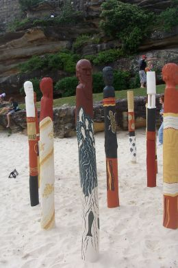 """""""will they see us"""" by Ngardarb Francine Riches WA. Made from wood ochres, paint. According to the artist, her work represents early ancestors when they saw the arrival of the first fleet- """"will they see us?"""""""