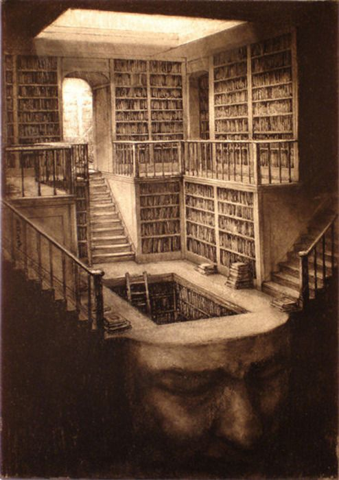Books... Stairs... Head... Inside writer's mind. S)