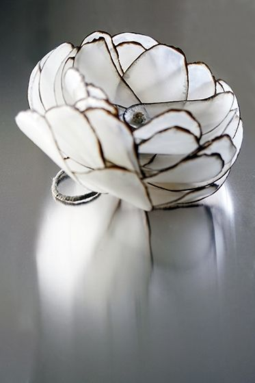 This is made of paper and wax and metal, gorgeously sad if you forgot to take it off before washing your hands. Flower Ring by all things paper, via Flickr: Flower Rings, Burnt Paper, Paper Jewellery, Paper Flowers, Things Paper, Paper Jewelry, Cotton Thread, Candle Wax