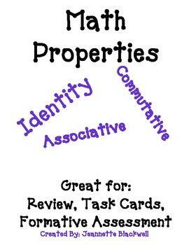 This freebie is a good review of the identity, commutative, and associative properties.  This can be used as a review sheet, a formal assessment, or quick quiz.  You can also use them as a total participation activity, showing one card at a time and everyone responding on a white board.