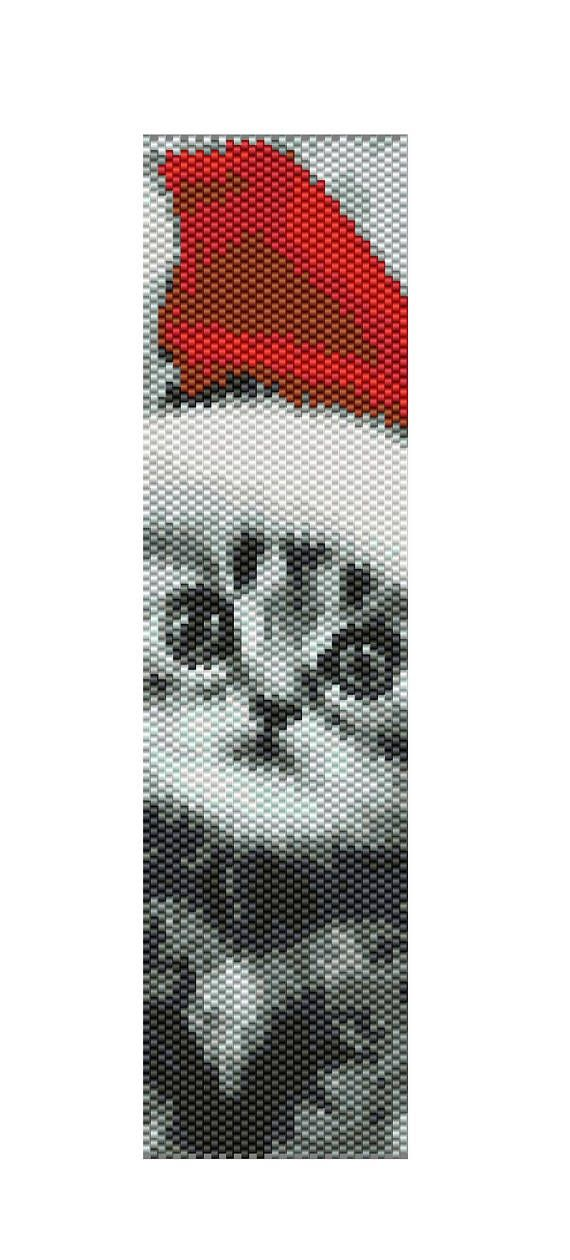 christmas kitten Bead Peyote pattern, Cat Peyote pattern, Pattern Peyote cat, Cat christmas pattern, Cat christmas kitten christmas pattern, Ariella Zochovitzky These beaded necklace / bracelet patterns can be made with size 10/0 Miyuki Delica seed beads or 11/0 Miyuki Delica seed