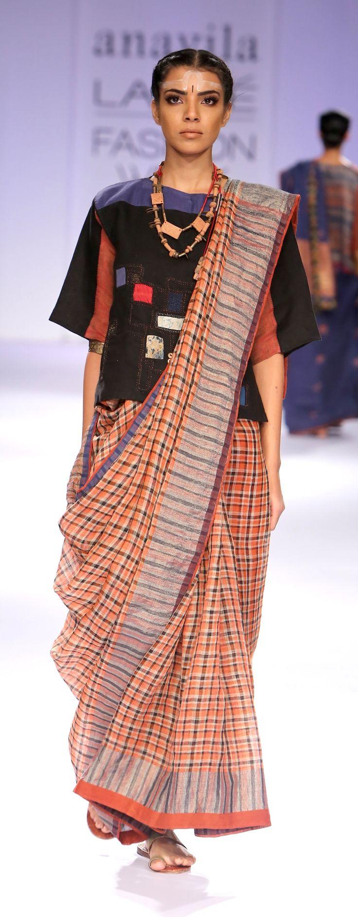 Micro check linen Sari