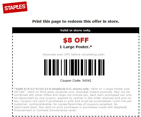 Choose from economy, standard and premium copy and printing options. Staples' mobile app allows orders directly from a smartphone. For added convenience, both in-store pickup and door-to-door delivery are available. Hot off the press savings are yours with Staples Copy and Print promo codes.