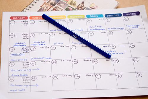 I love this very simple template for a month for menu planning.  Yay, finally back to planning.