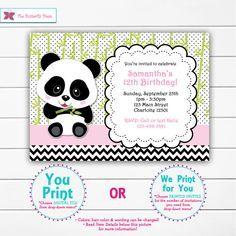 Chicas Panda cumpleaños invitación fiesta oso Panda cumpleaños